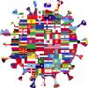 Corona-Virus mit Flaggen