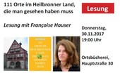 Lesung mit Francoise Hauser am Donnerstag, 30.11.2017